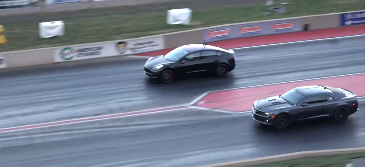 Tesla Model 3 Performance vs Chevrolet Camaro SS in a 1/4 mile drag race.