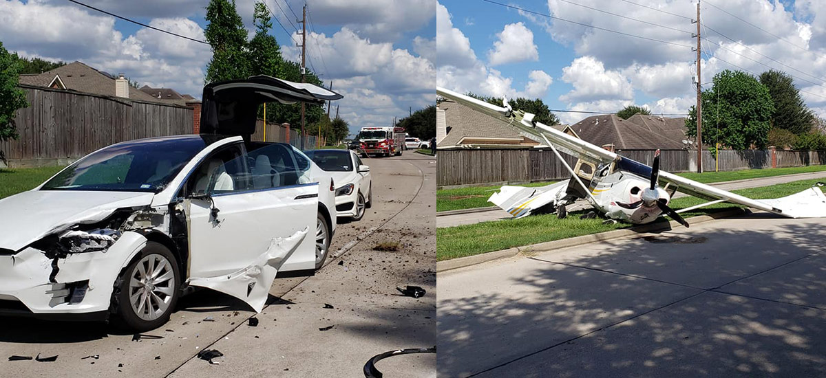 Plane crashes in to a Tesla Model X