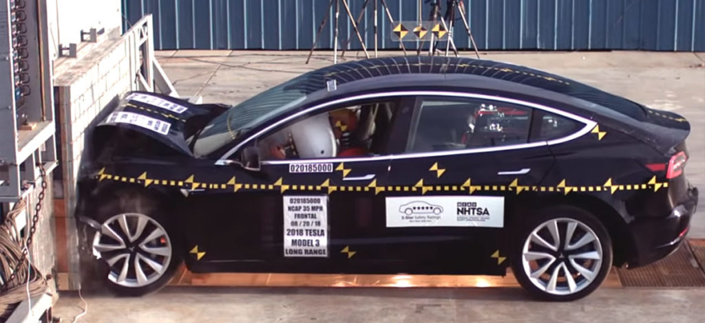 Tesla Model 3 safety crash testing by NHTSA - 5-star in all categories
