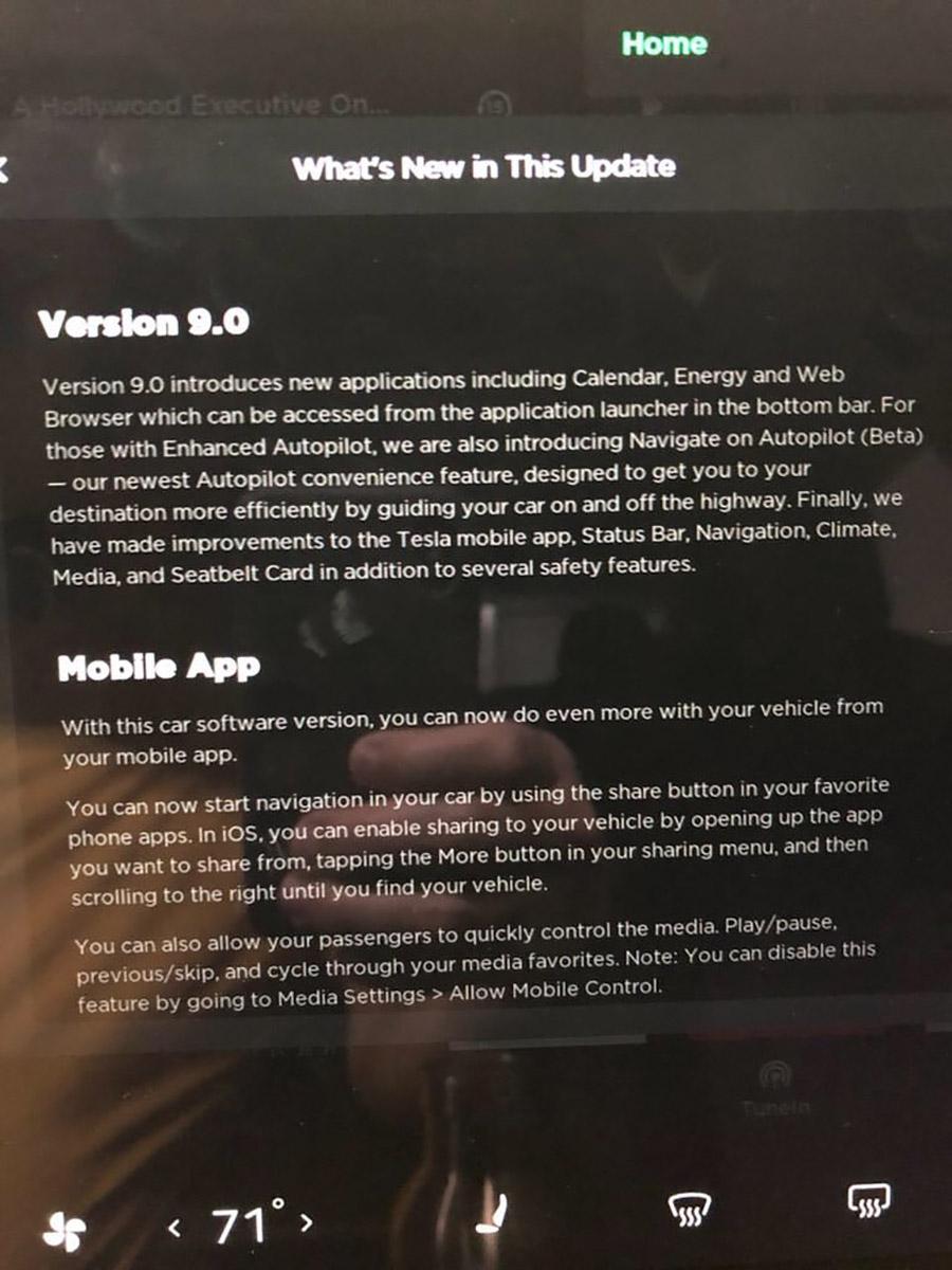 Model 3 V9 Update Release Notes 1