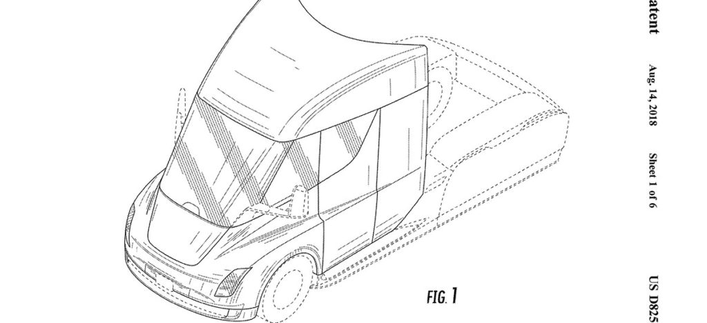 Tesla Semi Truck's approved patent drawing