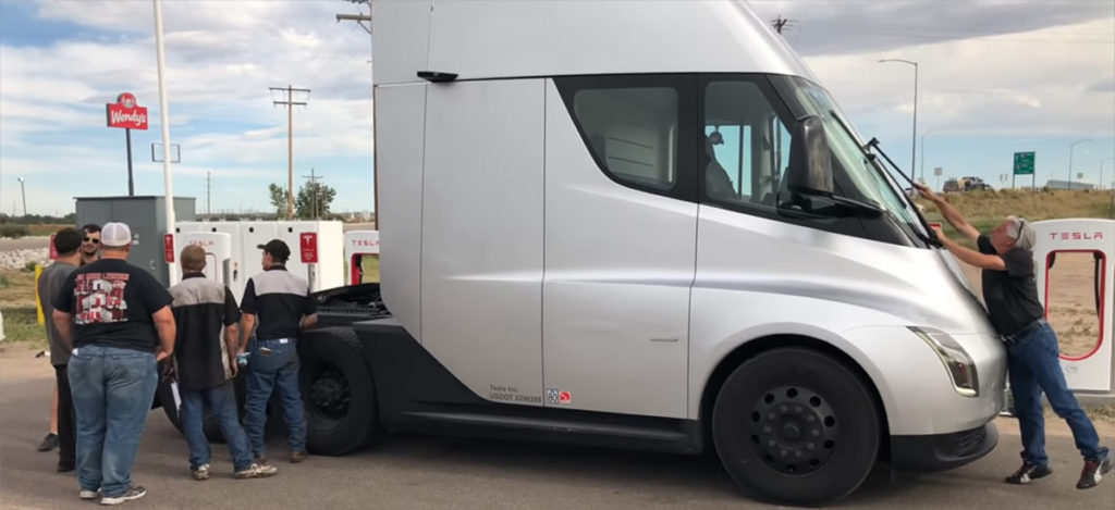 Tesla Semi Supercharging in Brush, Colorado