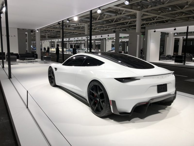 White Tesla Roadster at the Grand Basel, Switzerland (rear side view).