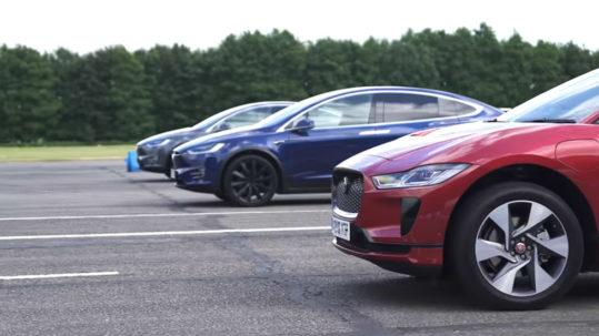 Drag Race: Jaguar I-Pace vs Tesla Model X 100D vs Tesla Model X P100D