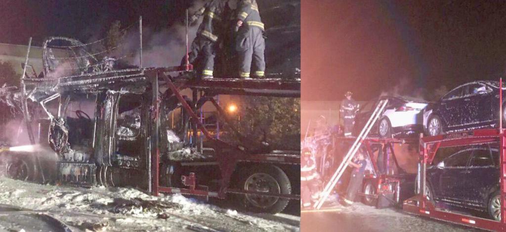 Tesla Model S burnt in semi trailer fire in Kansas City, MO