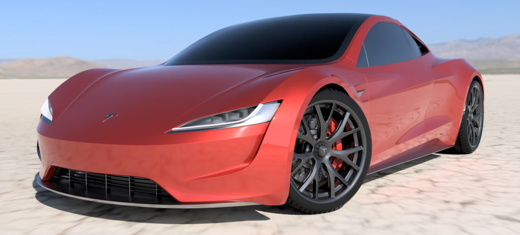 2020 Tesla Roadster Render in Red - Front Side View