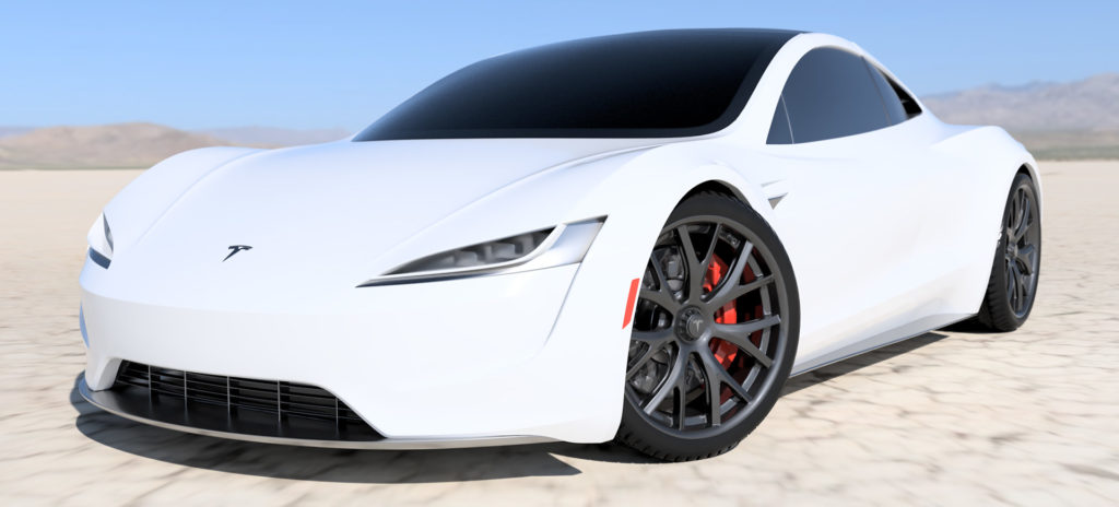 2020 Tesla Roadster Render in White - Front Side View