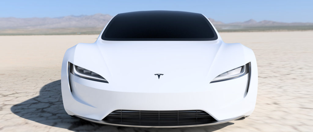 2020 Tesla Roadster Render in White - Front View