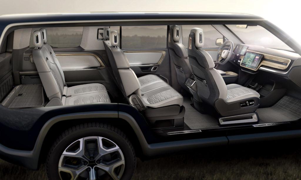 Rivian R1S Interior shot showing 7-seat setup