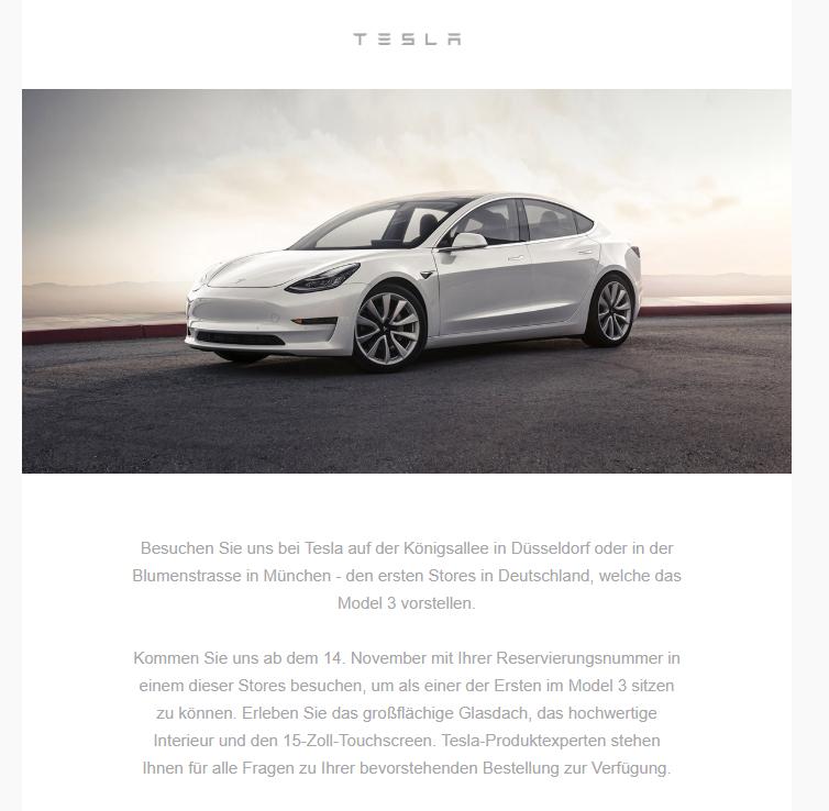 Tesla Model 3 invite email for Germany.