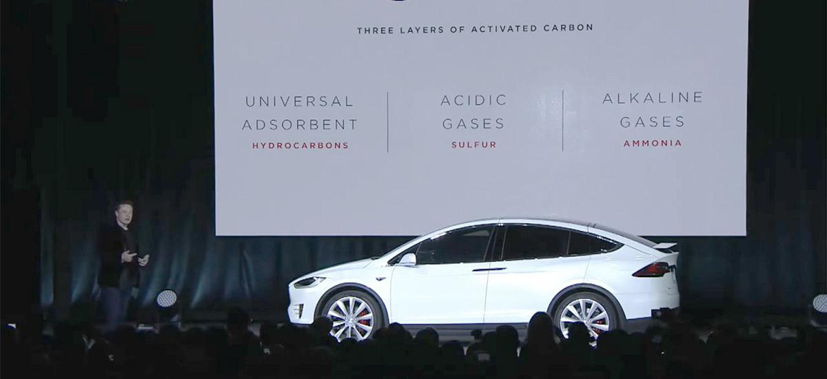 Elon Musk explaining 'Bioweapon Defense Mode' at Tesla Model X launch event.