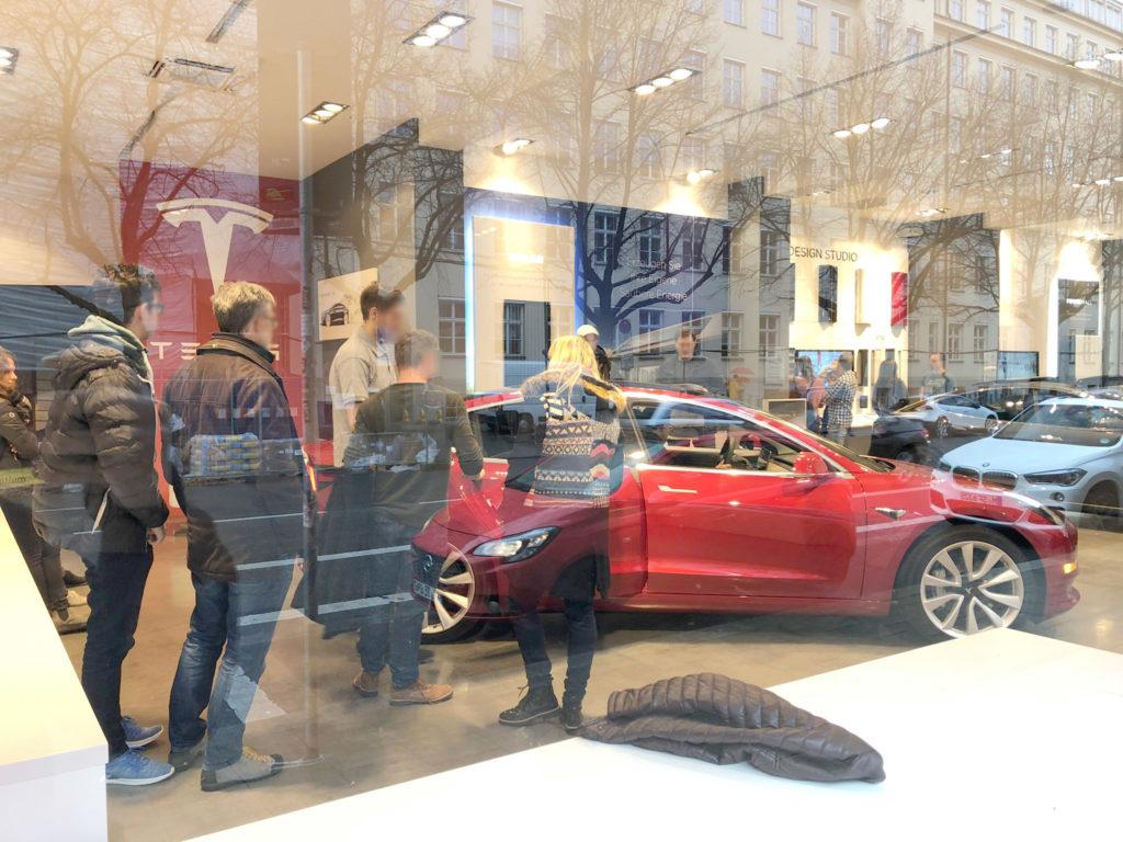 Tesla Model 3 Europe display at the Tesla Store in Munich, Germany