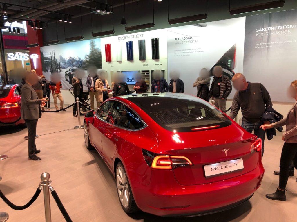 Tesla Model 3 on display in Sweden - Rear View