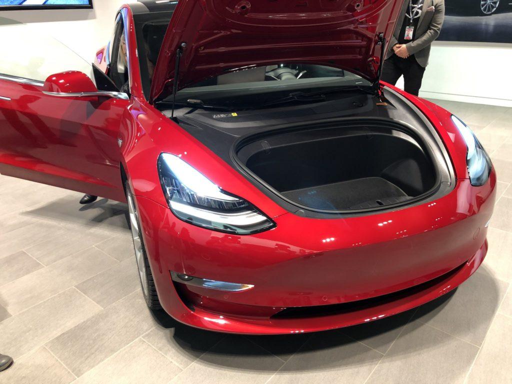 Tesla Model 3 on display in Sweden - Frunk Open