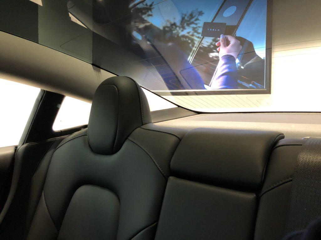 Tesla Model 3 on display in Sweden - Inerior, Rear Seat