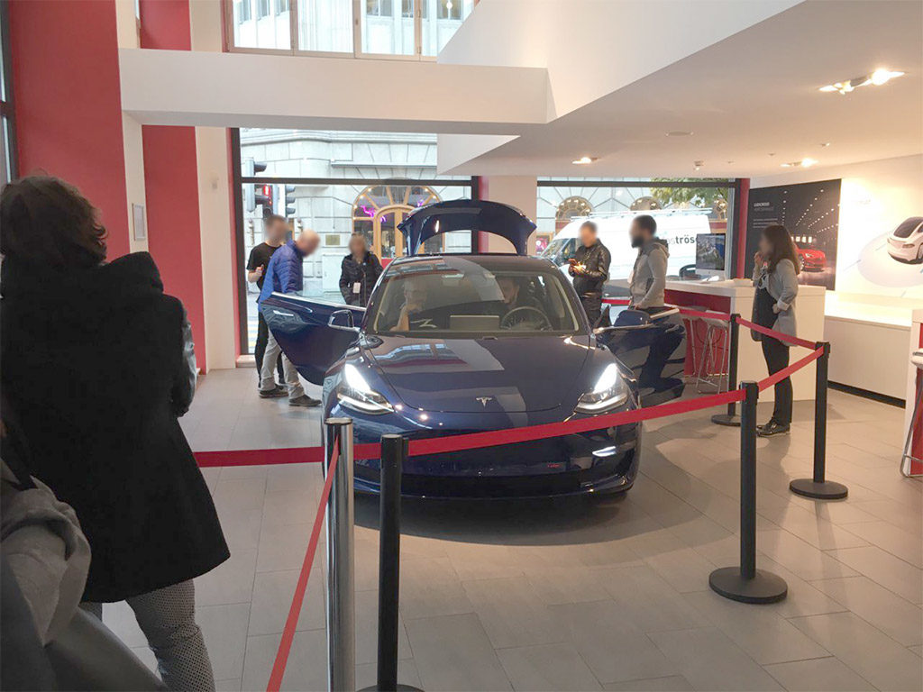 Tesla Model 3 on display in Sweden - Front View