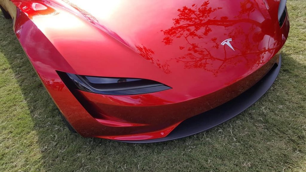 2020 Tesla Roadster at the ArtCenter College of Design in California - Front Closeup