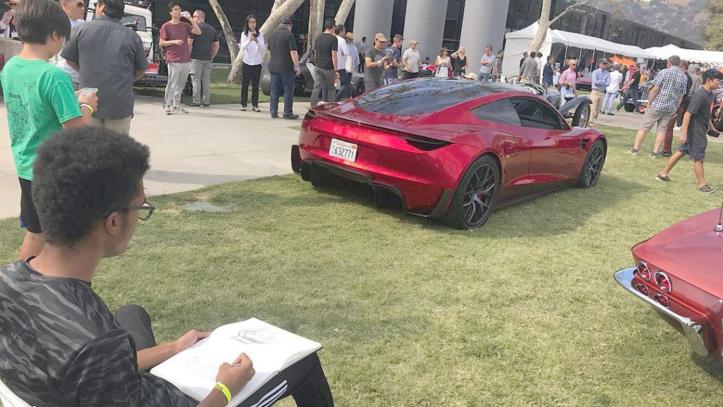 2020 Tesla Roadster at the ArtCenter College of Design in California - Rear Side View