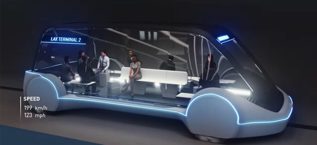 Boring Company's high-speed tunnel pods