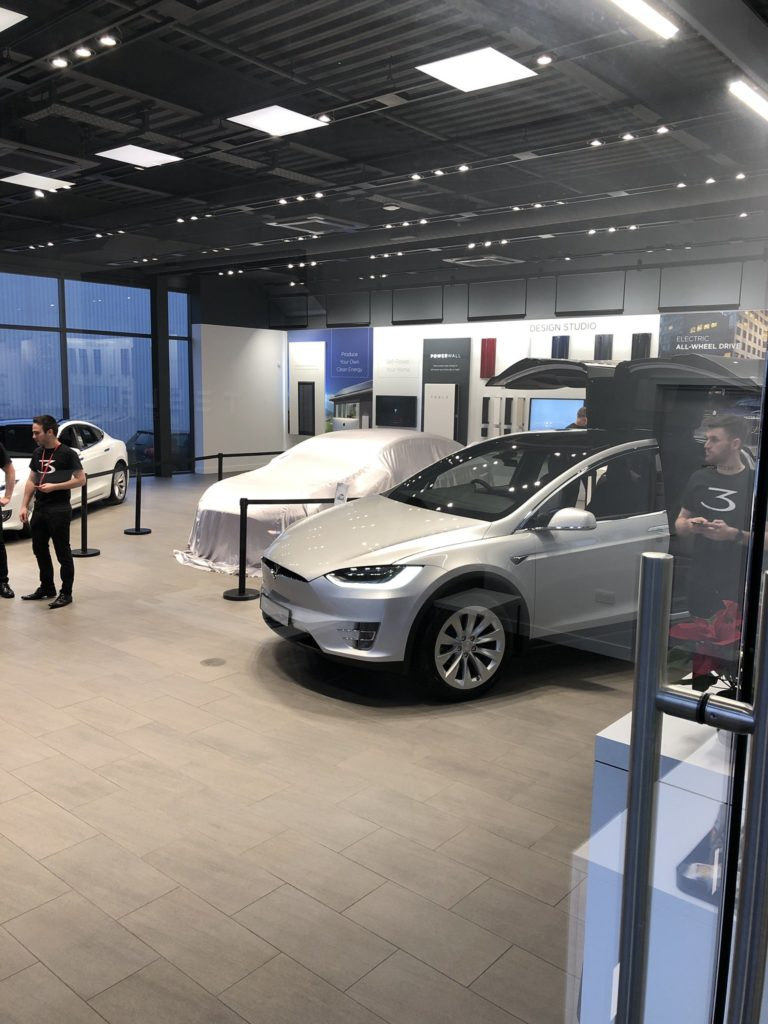 Tesla Model 3 about to be unveiled at Tesla Store in London, UK