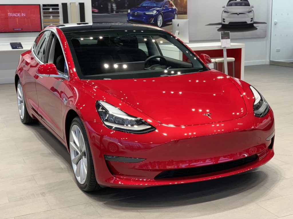 Tesla Model 3 at the Tesla Store in London