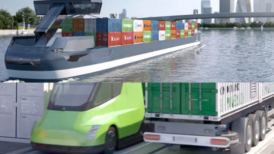 Tesla Semi Trucks and Electric Vessels for inland shipping in Europe