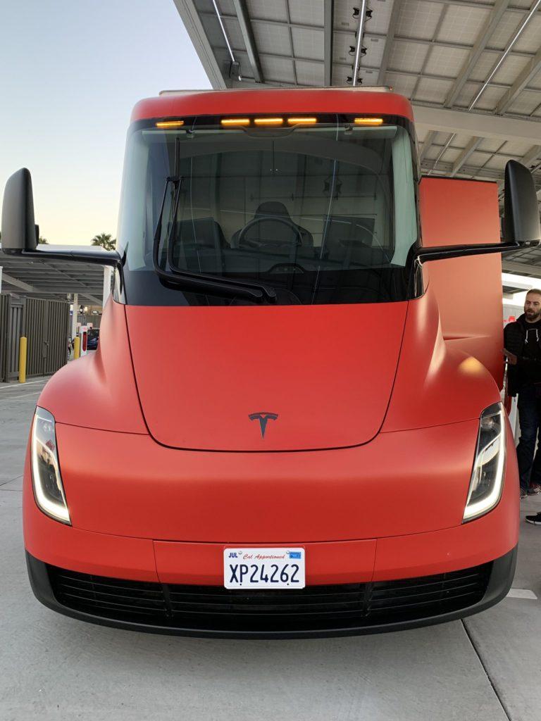 Red Tesla Semi Truck at Kettleman City Supercharger - Front Closeup
