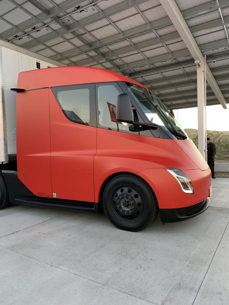Red Tesla Semi Truck at Kettleman City Supercharger - Side View