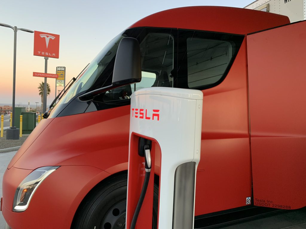 Red Tesla Semi Truck at Kettleman City Supercharger - Side Closeup