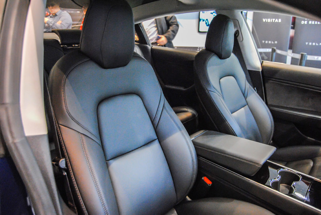 Blue Tesla Model 3 in Madrid, Spain - Interior Shot Seats