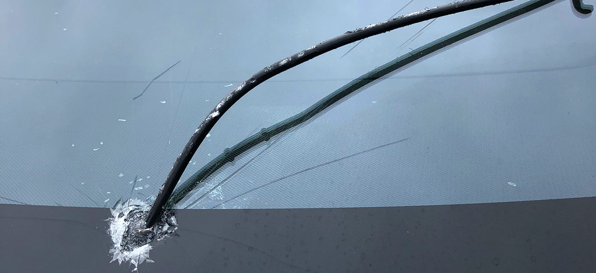 Tesla Model X windshield hit by flying steel bar