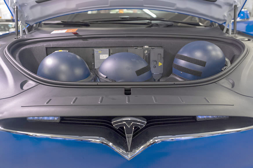 Basel City Police's Tesla Model X 100D - Frunk With Safety Helmets