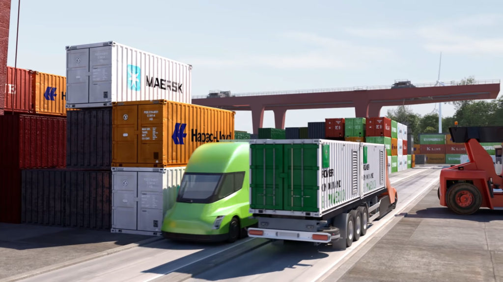 Tesla Semi Truck shipping containers from electric vessels at a port in Europe (animated)