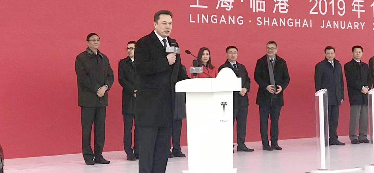 Elon Musk addressing Gigafactory China groundbreaking ceremony