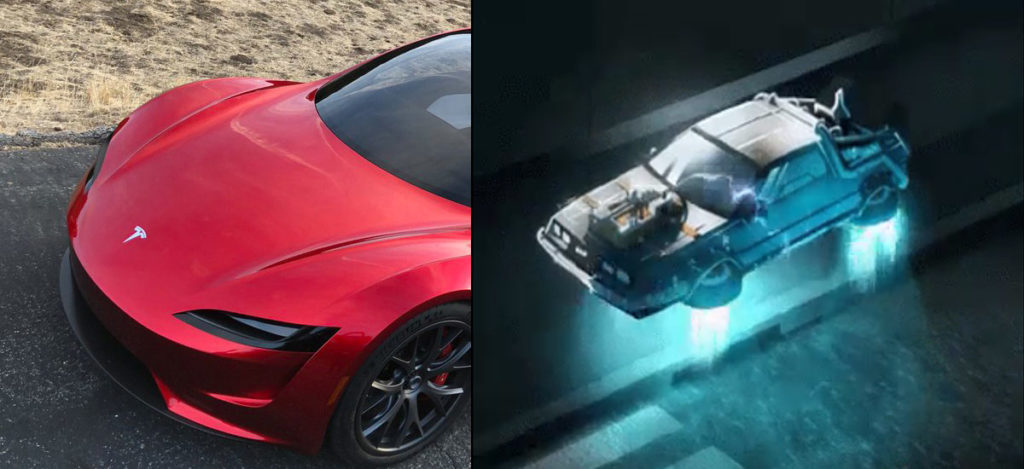 Next-Gen Tesla Roadster Flying DeLorean