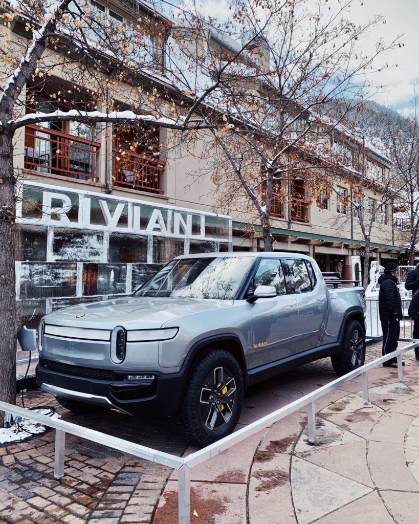 Rivian R1T Electric Pickup Truck showcased at the Aspen Colorado Ski Resort.
