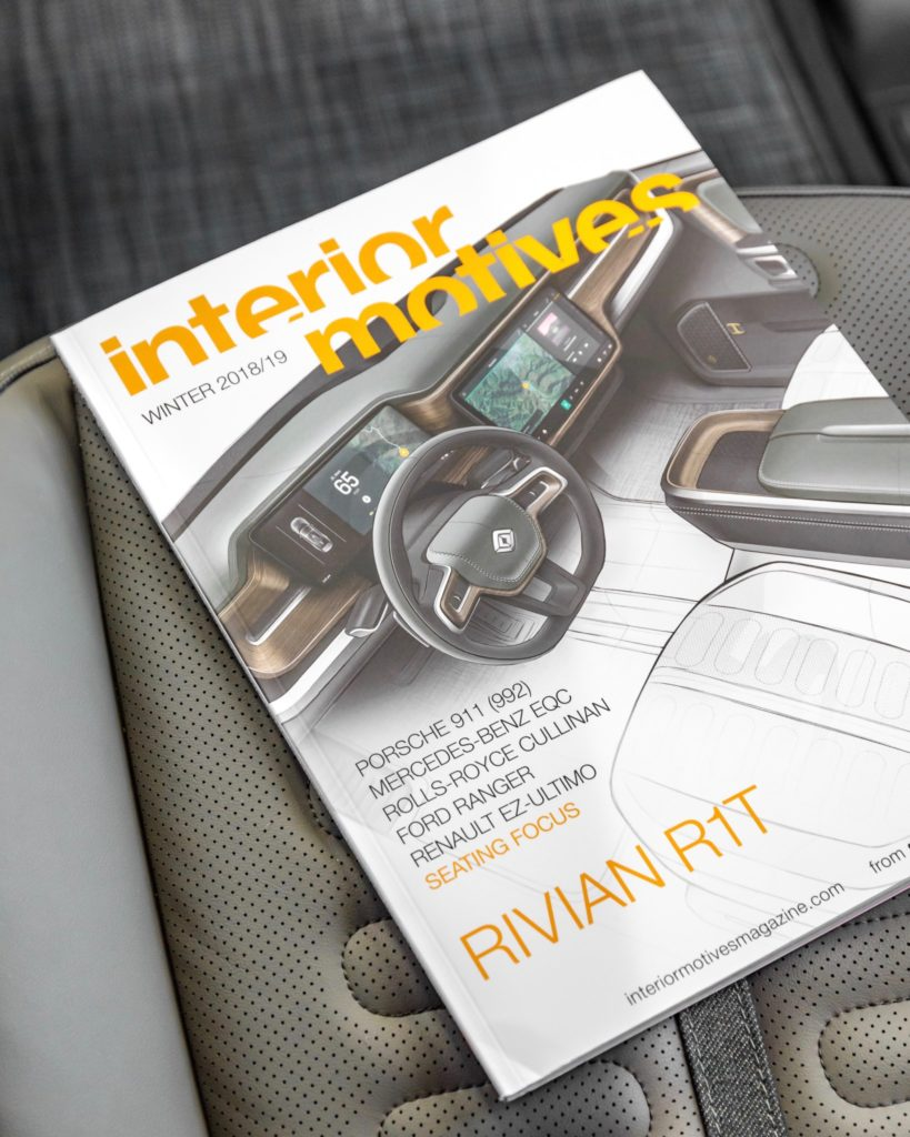 Rivian R1T Electric Pickup Truck's interior makes it to the cover of Interior Motives magazine.