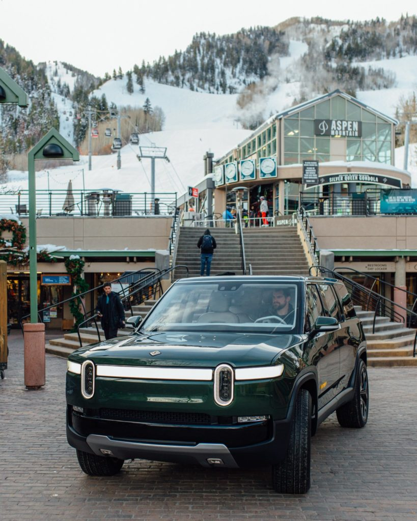 Rivian R1S SUV on display at the Aspen Ski Resort