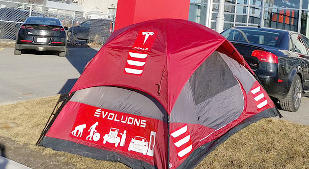 Ian Pavelko's tent outside Tesla Store Montreal, Canada