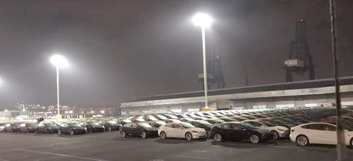 Large Number of Tesla Model 3 at San Francisco Port for deliveries to China or Europe