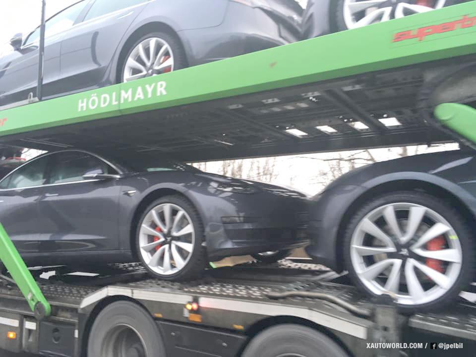 European Tesla Model 3 vehicles spotted in Denmark.