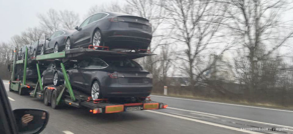 European Tesla Model 3s spotted being transported in Denmark
