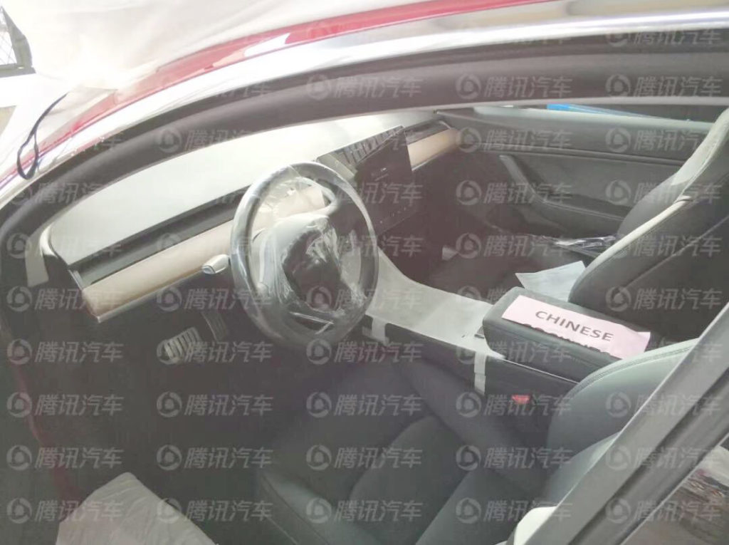 First Chinese Tesla Model 3 Performance reaches China - Interior View