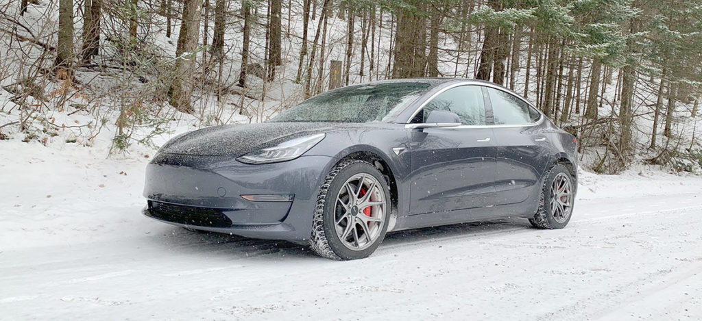 Tesla Model 3 Performance ready for the snow rally