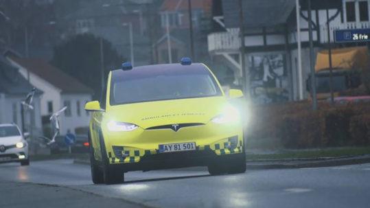 Tesla Model X ambulance in Denmark - Front View