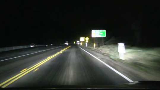 Testing Tesla Model 3 headlights at night