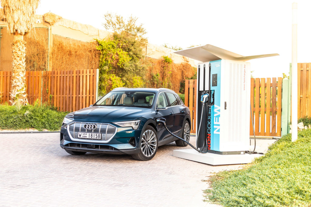 The Audi e-tron charging at Masdar City, Abu Dhabi