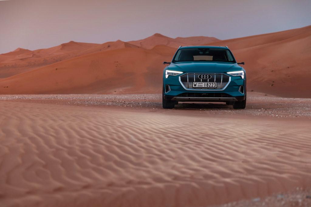 The Audi e-tron at Masdar City, Abu Dhabi desert.