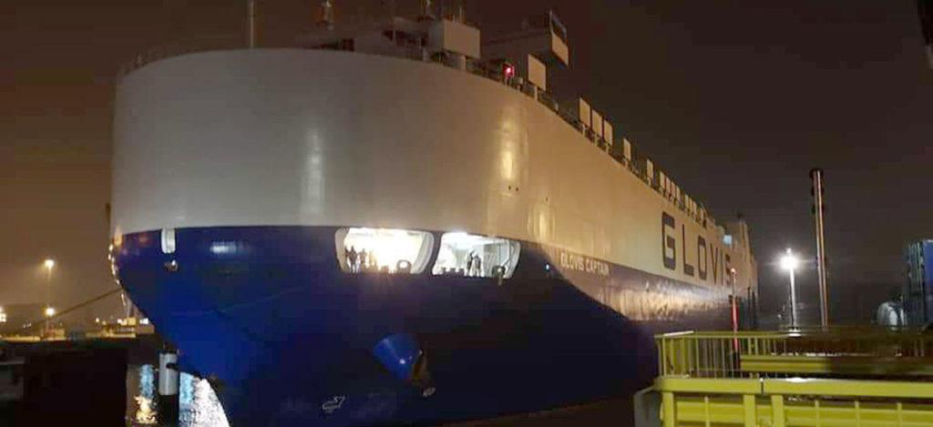 First ship with thousands of Tesla Model 3 vehicles arrives Port of Zeebrugge, Belgium Europe