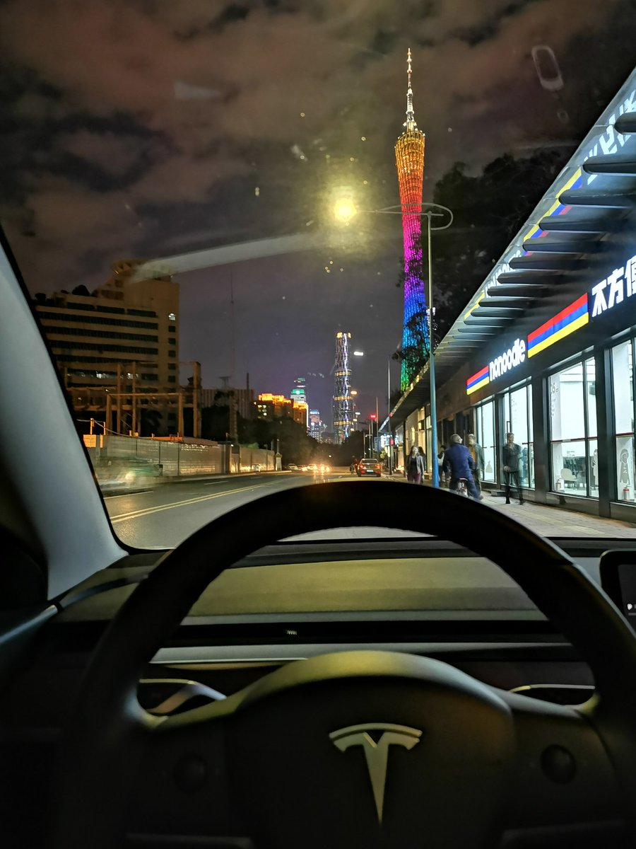 Guangzhou City from inside a Tesla Model 3 Performance